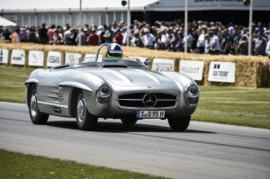 Mercedes-Benz 300 SLS (W 198). The vehicle is a special lightweight version of the 300 SL Roadster, two examples of which were produced in 1957 for the American sports car championship. Paul O'Shea won in Category D, having secured a significant lead over the competition. Photograph from the Goodwood Festival of Speed 2014.