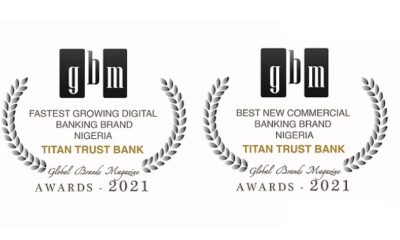 Titan Trust Bank wins 2 international awards at the 9th edition of Global Brands Magazine Awards